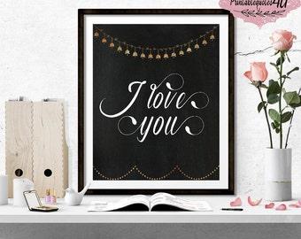 I love you print, I love you printable quote, Love quote, Bedroom wall art, Couple print, I love you wall art, Chalkboard Print, Love art