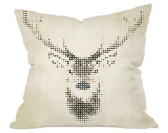 Deer Cushion, Artistic Deer Face Design Cushion Cover 40x40cm