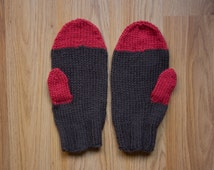 Organic Wool Mittens// American Wool Gloves// Pomegranate Red & Chocolate Brown// Made in USA