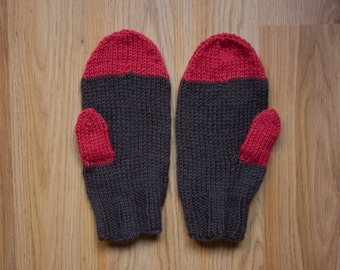 Organic Wool Mittens, American Wool Gloves, Pomegranate Red & Chocolate Brown, Made in USA