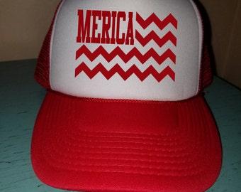Merica Trucker Hat Snapback Hat Custom Trucker Hat USA Trucker Hat 4th of July Trucker Hat Patriotic Hat