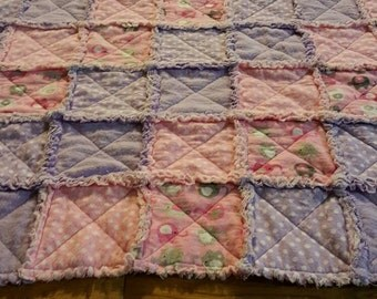 Baby crib rag quilt, flannel, pink, elephants, poker a dots,
