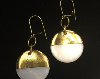 Gold-Dipped Mother of Pearl Disc Earrings