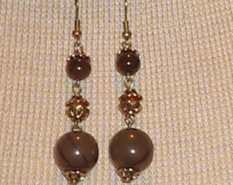 Three teir Brown tones Dangle Earrings