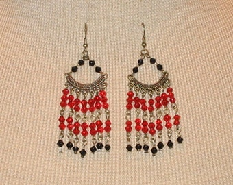 Boho chic Red and Black Chandelier Earrings