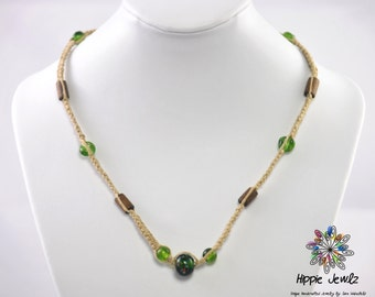 Handmade Hemp Necklace with Green Beads