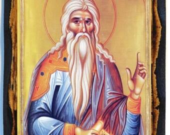 Saint Philaret the Merciful Greek Orthodox Russian Mount Athos Byzantine Christian Catholic Icon on Wood