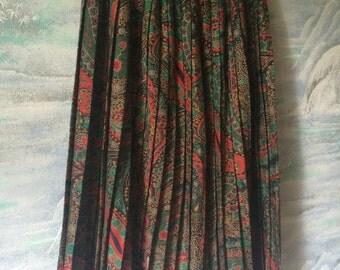 Vintage 80s Green Floral Accordion Pleated Skirt Elastic Waist Wool skirt Knee Length Skirt Size Medium