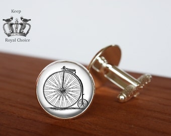 Retro bicycle pair of cufflinks, bike cuff links, Sport cuff links, Wedding, for groom cuff links, gift for dad