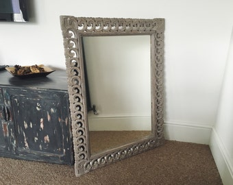 Large Mirror with Sculptured Distressed Frame