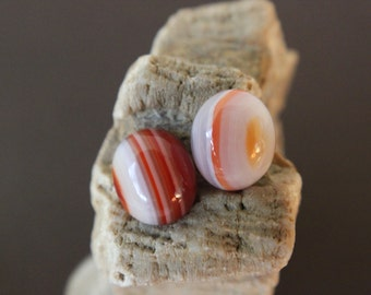 Two Red Banded Agate Cabochons