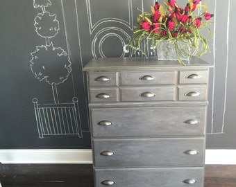 Gray handpainted dresser with pulls