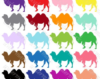 Bright silhouettes Camels digital clipart Safari Instant Download for Scrapbooking