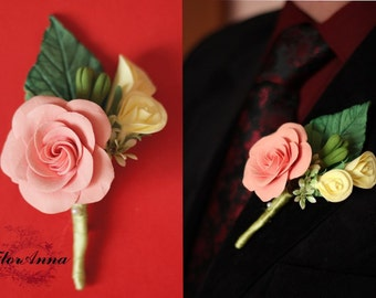 groom boutonniere, roses brooch, pink roses brooch, pink bride, yellow roses, bridesmaids gift, wedding stuff, groomsman brooch, flower gift