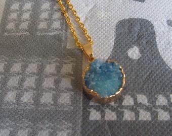 Druzy agate Pendant Necklace blue
