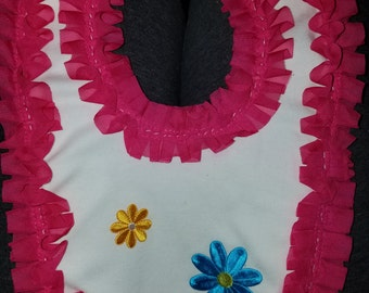 Pink ruffles with flowers