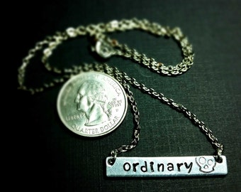 Ordinary - Hand Stamped Silver Metal Bar Necklace
