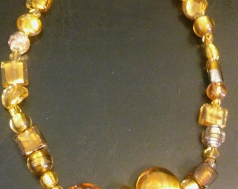 """Handmade Amber Colored Beaded 18"""" Necklace"""