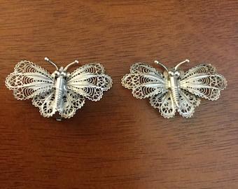 800 silver filigree butterfly earrings