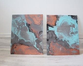 Custom Marbled Painting, Choose your colors and make it your own! 8x10 Set of 2