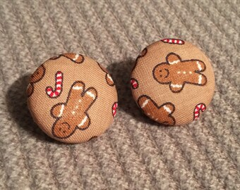 holiday gingerbread fabric button earring