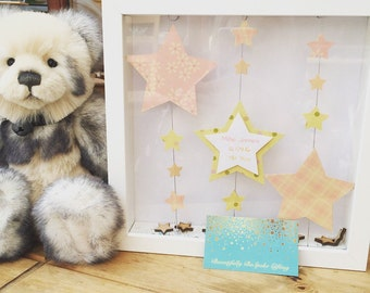 Handmade Personalised Star Christening Box Frame. Unique Gift. Hanging Star.