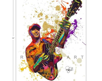 Tom Morello of Rage Against the Machine, Audioslave, 11x14 in, 29x36 cm, Signed Art Print w/ COA