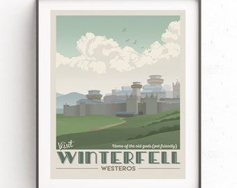 Winterfell travel poster. Game of Thrones illustration. Winterfell candle retro. Fantasy world travel poster. Instant download. Westeros