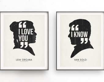 I love you i know. Starwars quote. Han solo and Leia Organa. Couples art. Love quote art. Printable. Star Wars gift. Wedding decor. Leia