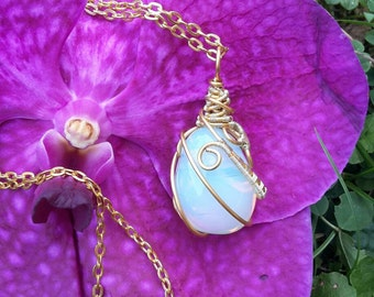 Wire wrapped Opalit chain Wirework jewelry gold-plated wirewrap wire gold chain double-sided