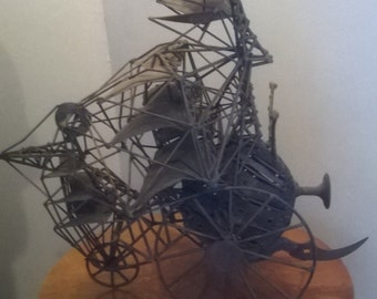 sculpture steampunk flying machine in memory of Robida - Shanghai