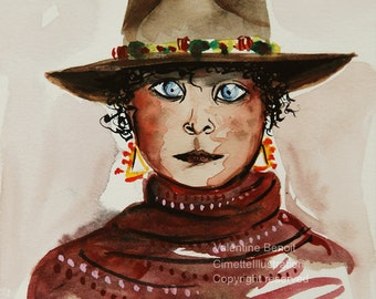 Gouache and original watercolor of a young woman with cowboy hat decorated with a green ribbon, triangle earrings, purple scarf
