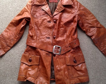 Vintage belted leather trench coat