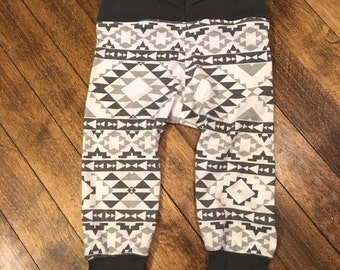 Grey and white tribal print baby boy pants