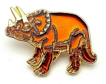 Triceratops Vintage Lapel Pin Signed SOS Vision Dinosaur Brooch Gold and Orange