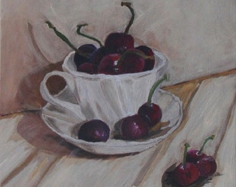 I Wish Life Was a Bowl of Cherries Acrylic Painting