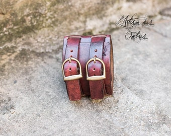 Strength leather handmade red antique