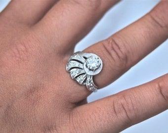 Vintage Art Deco Estate Diamond Ring 14k White Gold 1/2 Ct Main Stone, .75tcw