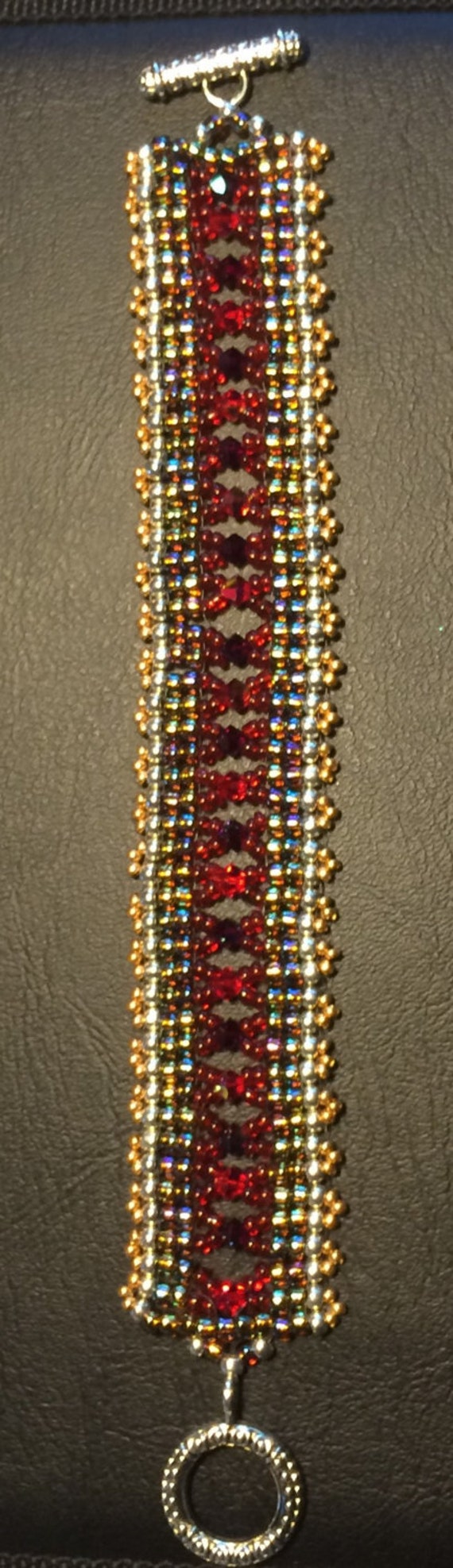 Number 40 Hand woven glass and crystal bracelet