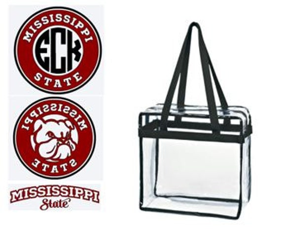 Miss St Bulldogs Custom Monogram/ Personalized Game Day Clear Tote Bag with Zipper Closure