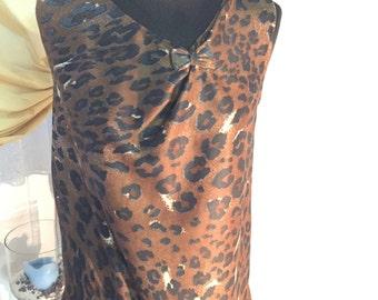 Leopard jersey Top,Cheetah Shirt,Black Brown Leopard Shirt