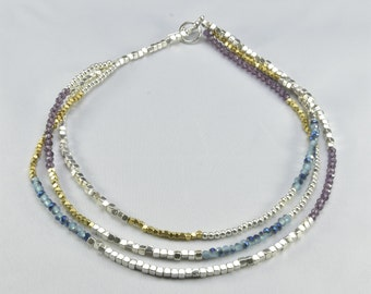 Three Level Blue Short Necklace- 0040