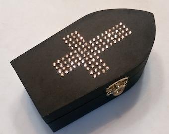 Black Coffin Box \\ Rhinestone Inverted Cross \\ Halloween Decor \\ Gothic Decor \\ Keepsake and Jewelry Box