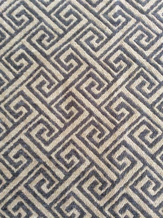 2yds Greek key Home dec fabric..gray/sand ...heavyweight and elegant! Fabric by the yard