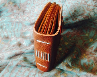 Half- Sized Handmade Leather Travel Journal Chestnut Brown with Brown Paper & Leather Latch