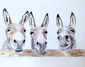 Watercolour Donkey Painting A4