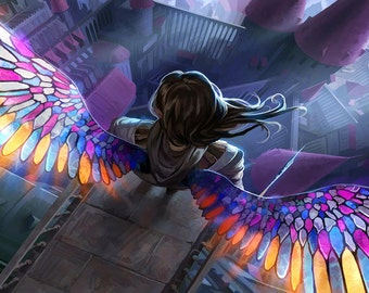 Magic the Gathering Playmat Angel with Stained Glass wings Cardmat