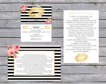 Lipsense Business Cards Bundle Gold/Black/Pink Flower