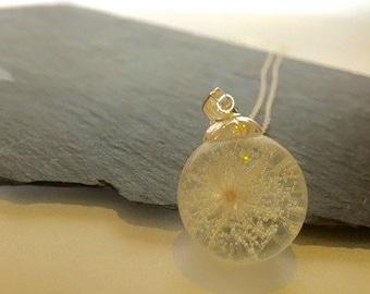 Dandelion wish necklace/pendant sterling silver make a wish sphere/orb