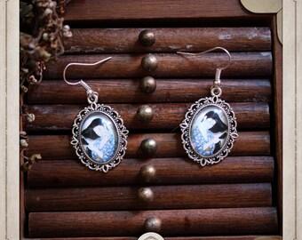 GEISHA earrings silver cabochon oval 13x18mm Japanese prints portrait BOCA001